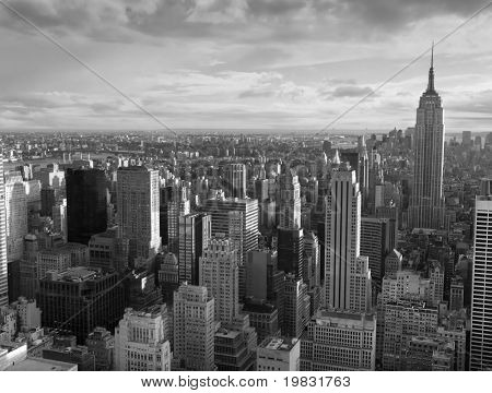Manhattan and a view of the various buildings.