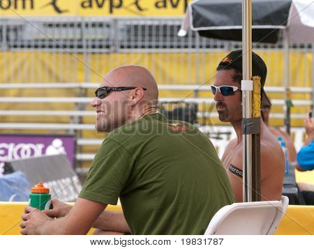 HUNTINGTON BEACH, CA. - MAY 22: AVP Huntington Beach Open, Phil Dalhausser and Todd Rogers during a timeout at the Huntington Beach Open on May 22nd 2009