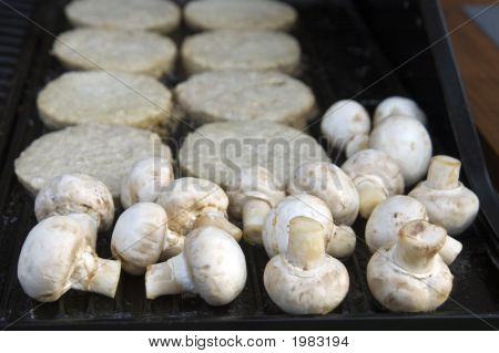 Raw Mushrooms And Frozen Burgers