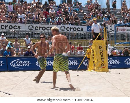 HUNTINGTON BEACH, CA. - MAY 23: Ty Loomis and Casey Patterson during the AVP Huntington Beach Open south of the pier on the weekend May 23, 2009 in Huntington Beach, California.