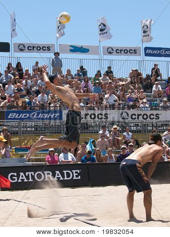 HUNTINGTON BEACH, CA. - MAY 23: Phil Daulhausser and Todd Rogers at the AVP Huntington Beach Open south of the pier on the weekend May 23, 2009 in Huntington Beach, California.