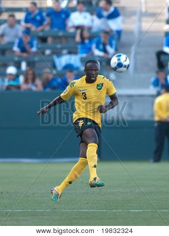CARSON, CA. - JULY 3: Concacaf Gold Cup soccer match, Canada vs. Jamaica at the Home Depot center in Carson. Damion Stewart passes the ball on July 3, 2009.