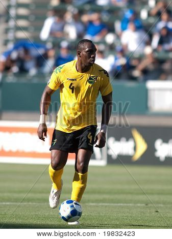 CARSON, CA. - JULY 3: Concacaf Gold Cup soccer match, Canada vs. Jamaica at the Home Depot center in Carson. Claude Davis dribbling the ball up field on July 3, 2009.