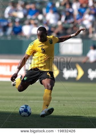 CARSON, CA. - JULY 3: Claude Davis taking a shot on goal during the Concacaf Gold Cup soccer match of Canada vs. Jamaica at the Home Depot Center in Carson on July 3, 2009.