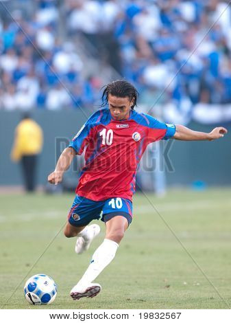 CARSON, CA. - JULY 3: Concacaf Gold Cup soccer match, Costa Rica vs. El Salvador at the Home Depot center in Carson. Walter Centeno putting the ball into play on July 3, 2009.
