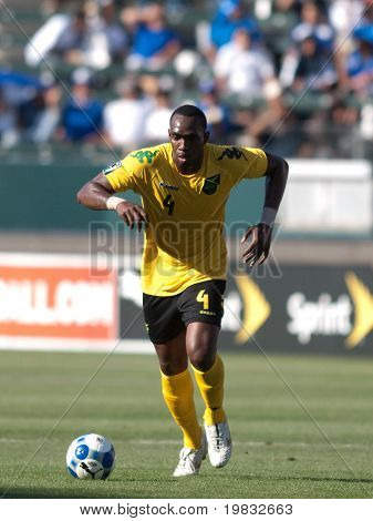 CARSON, CA. - JULY 3: Concacaf Gold Cup soccer match, Canada vs. Jamaica at the Home Depot Center in Carson. Claude Davis during the game. July 3, 2009.