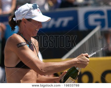HERMOSA BEACH, CA. - AUGUST 8: Elaine Youngs celebrating after winning the womens final of the AVP Hermosa Beach Open. August 8, 2009 in Hermosa Beach.