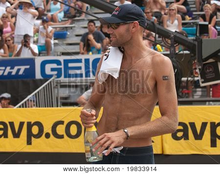 HERMOSA BEACH, CA. - AUGUST 9: Phil Dalhausser after winning the mens final of the AVP Hermosa Beach Open. August 9, 2009 in Hermosa Beach.