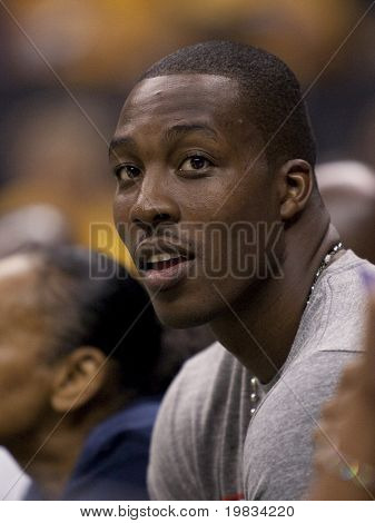 LOS ANGELES, CA. - SEPTEMBER 16: Dwight Howard of the Orlando Magic watches the WNBA playoff game of the Sparks vs. Storm on September 16, 2009 in Los Angeles.