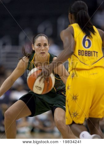 LOS ANGELES, CA. - SEPTEMBER 16: Sue Bird playing defense against Shannon Bobbitt during the WNBA playoff game of the Sparks vs. Storm on September 16, 2009 in Los Angeles.