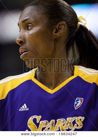 LOS ANGELES, CA. - SEPTEMBER 16: Lisa Leslie warming up before the WNBA playoff game of the Sparks vs. Storm on September 16, 2009 in Los Angeles.