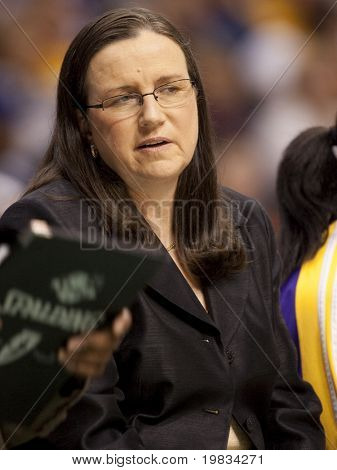 LOS ANGELES, CA. - SEPTEMBER 16: Marianne Stanley Sparks Assistant Coach, coaches during the WNBA playoff game of the Sparks vs. Storm on September 16, 2009 in Los Angeles.