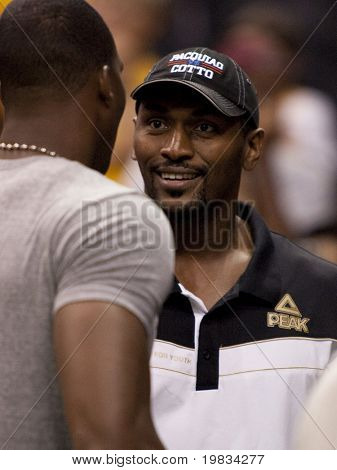 LOS ANGELES, CA. - SEPTEMBER 16: Ron Artest of the Lakers talking to Dwight Howard of the Magic after the WNBA playoff game of the Sparks vs. Storm on September 16, 2009 in Los Angeles.