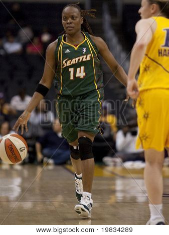 LOS ANGELES, CA. - SEPTEMBER 16: Shannon Johnson in action during the WNBA playoff game of the Sparks vs. Storm on September 16, 2009 in Los Angeles.