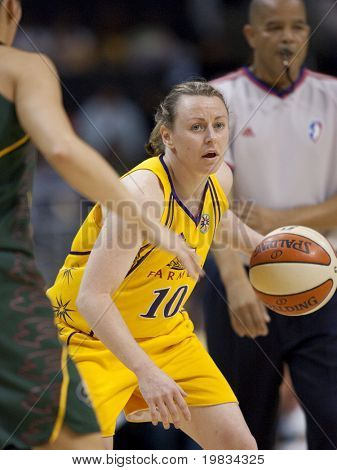 LOS ANGELES, CA. - SEPTEMBER 16: Kristi Harrower in action  during the WNBA playoff game of the Sparks vs. Storm on September 16, 2009 in Los Angeles.