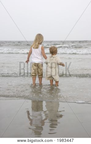 Young Children At The Beach