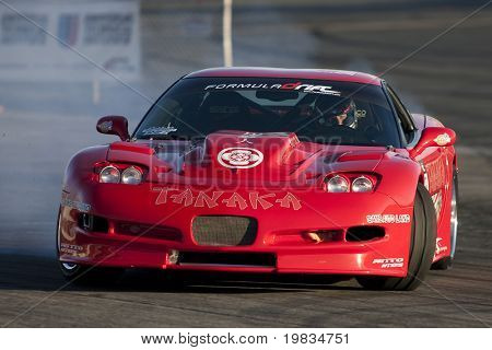 IRWINDALE, CA. - OCTOBER 16: Tanaka Racing driver Alex Pfeiffer competes at Toyota Speedway during Formula Drift round 7 on October 16th 2009 at the Toyota Speedway in Irwindale.