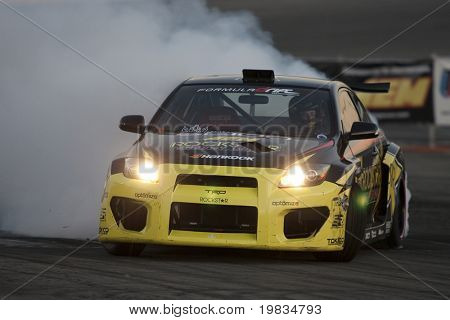 IRWINDALE, CA. - OCTOBER 16: Rockstar/Hankook driver Tanner Foust competes at  Toyota Speedway during Formula Drift round 7 on October 16th 2009 at the Toyota Speedway in Irwindale.
