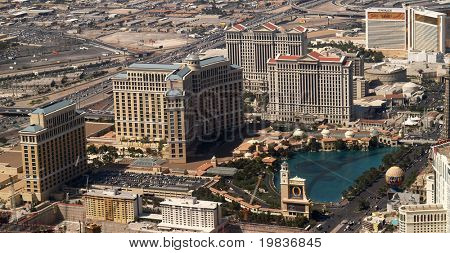 LAS VEGAS, NV. - APRIL 09: The Bellagio (L) is a AAA Five Diamond, 50 story, award winning hotel and was built in 1999 with a price tag of 1.6 billion dollars. Taken 4/9/07 over Las Vegas, Nevada.