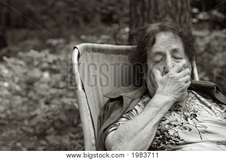Lonely Old Woman In Deep Depression