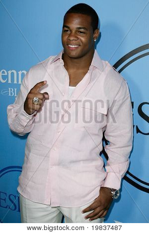HOLLYWOOD, CA - JULY 13: Pierre Thomas of the New Orleans Saints shows off his Super Bowl ring while attending Fat Tuesday at The ESPYs on July 13, 2010 in Hollywood, CA.