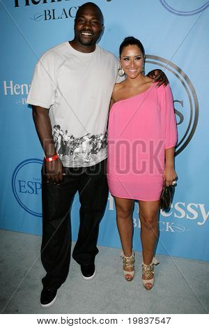 HOLLYWOOD, CA - JULY 13: Marcellus Wiley (L) and Jazmin Lopez (R) attend Fat Tuesday at The ESPYs on July 13, 2010 in Hollywood, CA.