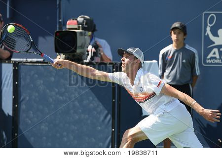 LOS ANGELES, CA. - JULY 31: Janko Tipsarevic of Serbia and Sam Querrey of USA (pictured) play a match at the 2010 Farmers Classic on July 31 2010 in Los Angeles.