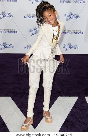 LOS ANGELES, CA - FEB 8: Willow Smith arrives at the Paramount Pictures Justin Bieber: Never Say Never premiere at Nokia Theater L.A. Live on February 8, 2011 in Los Angeles, California.