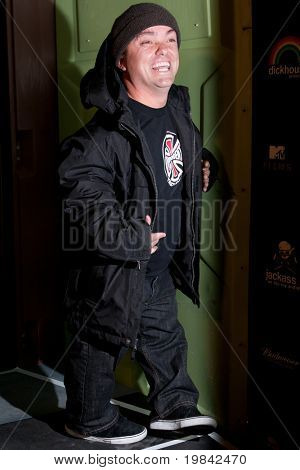 """LOS ANGELES, CA. - MARCH 7: Jason """"Wee Man"""" Acuna arrives at Paramount Studios to celebrate the release of the Jackass 3 Blu-ray and DVD debut on March 7th 2011 in Los Angeles."""