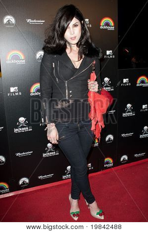 LOS ANGELES, CA. - MARCH 7: Kat Von D arrives at Paramount Studios to celebrate the release of the Jackass 3 Blu-ray and DVD debut on March 7th 2011 in Los Angeles.