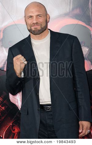 """HOLLYWOOD, CA. - AUG 3: UFC Hall of Fame fighter Randy """"The Natural"""" Couture arrives at The Expendables Los Angeles premiere at Grauman's Chinese Theater on August 3, 2010 in Hollywood, Ca."""