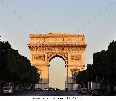 The Arc de Triomphe at sunrise