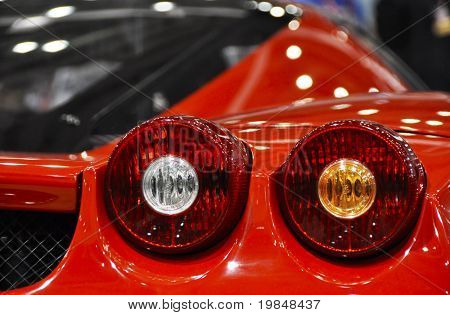 LONDON, UK - NOVEMBER 7: Detail of a Ferrari Enzo at the MPH motorshow, November 7, 2010 in London, United Kingdom