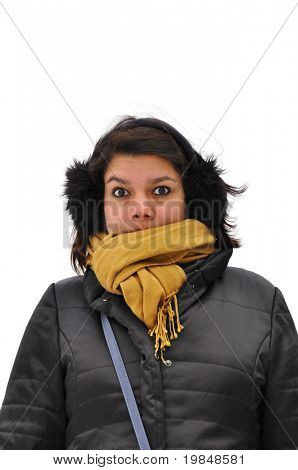 Young asian woman warmly dressed to cope the winter cold weather
