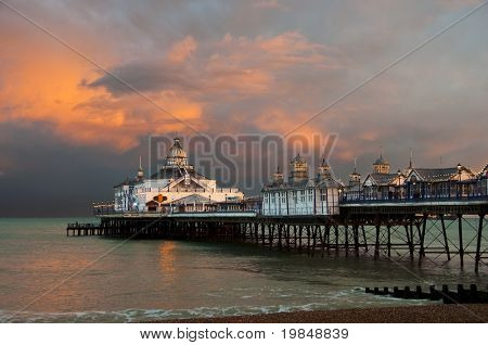 Eastbourne pier at sunset, England