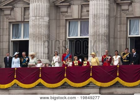 LONDON, UK - APRIL 29: The Royal family appears on Buckingham Palace balcony after Prince William and Kate Middleton wedding, April 29, 2011 in London, United Kingdom