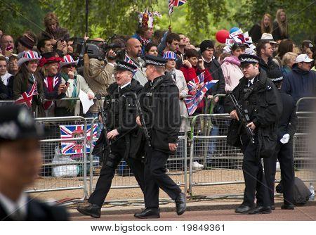 LONDON, UK - APRIL 29: Policemen at Prince William and Kate Middleton wedding, April 29, 2011 in London, United Kingdom