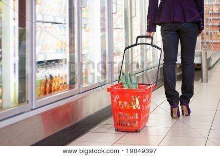 Bajo sección de mujer caminando con canasta cerca de refrigerador en centro comercial