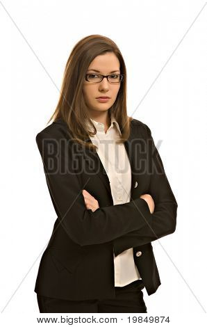 Stylish young woman in a blazer, wearing glasses