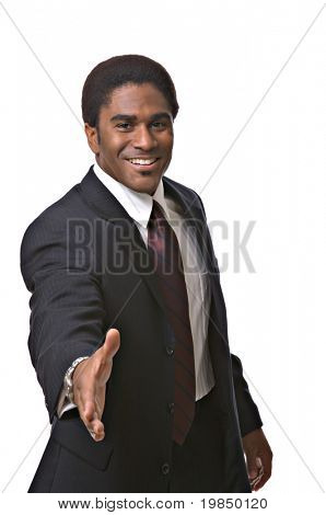 A handsome African-American man extends a handshake