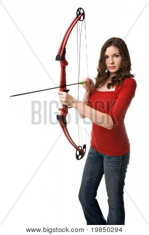 Beautiful young woman aims a bow and arrow at seekers of romance