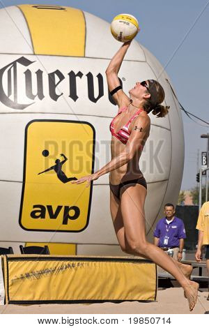 GGLENDALE, AZ - SEPTEMBER 27: Olympian Nicole Branagh competes at the AVP Best of the Beach volleyball tournament in Glendale, Arizona.