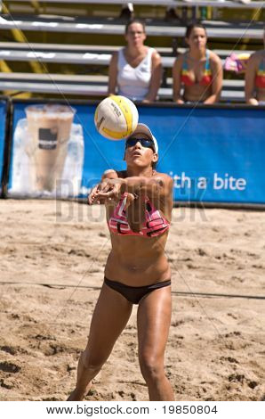 GLENDALE, AZ - SEPTEMBER 27: AVP pro Tyra Turner competes at the AVP Best of the Beach volleyball tournament in Glendale, Arizona.