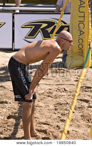 GLENDALE, AZ - SEPTEMBER 27: Olympic gold medalist Phil Dalhausser waits for serve at the AVP Best of the Beach volleyball tournament in Glendale, Arizona.
