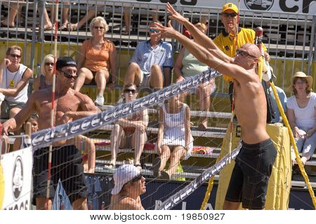 GLENDALE, AZ - SEPTEMBER 27: Olympic gold medalist Phil Dalhausser and AVP pro Sean Scott compete at the AVP Best of the Beach volleyball tournament in Glendale, Arizona.