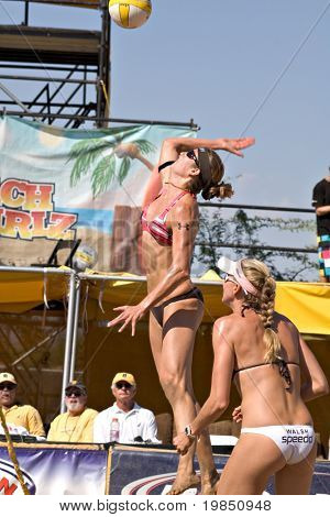 GLENDALE, AZ - SEPTEMBER 27: Olympic gold medalist Kerri Walsh and Olympian Nicole Branagh compete at the AVP Best of the Beach volleyball tournament in Glendale, Arizona.