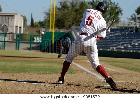 MESA, AZ - NOV 20: Lou Marson of the Mesa Solar Sox swings at a pitch in the Arizona Fall League game with the Scottsdale Scorpions on November 20, 2008 in Mesa, Arizona.