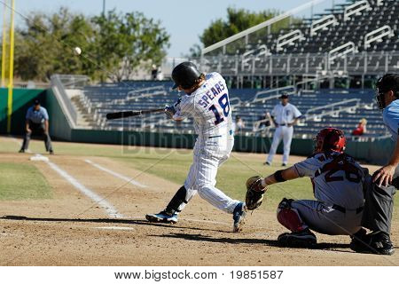 MESA, AZ - NOV 20: Nate Spears of the Mesa Solar Sox swings at a pitch in the Arizona Fall League baseball game with the Scottsdale Scorpions on November 20, 2008 in Mesa, Arizona.