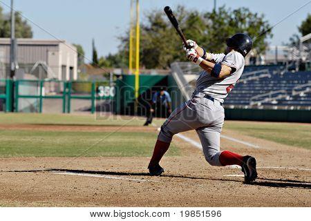 MESA, AZ - NOV 20: Mark Wagner of the Scottsdale Scorpions hits a home run in the Arizona Fall League baseball game with the Mesa Solar Sox on November 20, 2008 in Mesa, Arizona.
