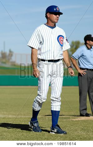 MESA, AZ - NOV 20: Baseball Hall of Famer Ryne Sandberg of the Mesa Solar Sox coaches third base in the Arizona Fall League baseball game with the Mesa Solar Sox on November 20, 2008 in Mesa, Arizona.